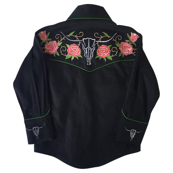 Rockmount Ranch Wear Children's Western Embroidered Shirt Roses and Steer Skull Front