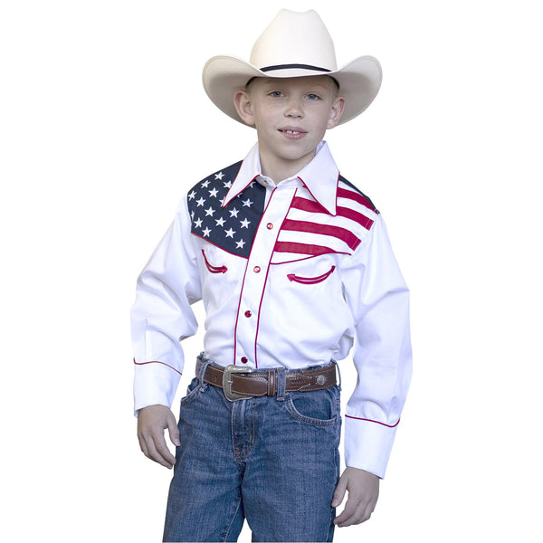 Rockmount Ranch Wear Children's Vintage Patriotic Flag Shirt Front