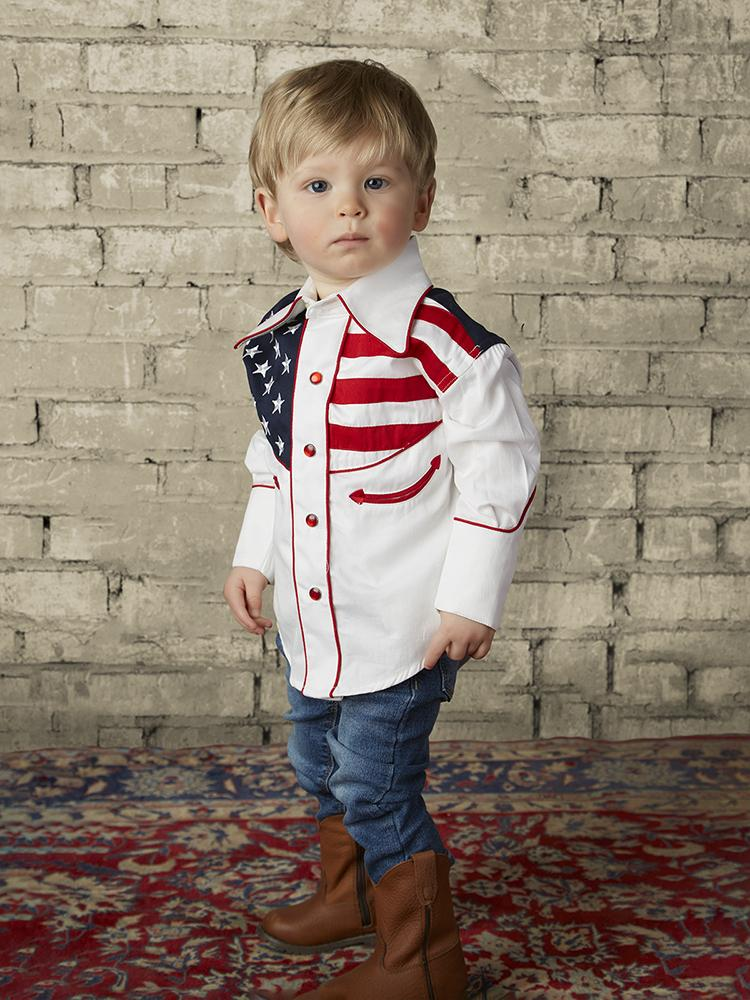 Rockmount Ranch Wear Chidren's Vintage Patriotic Flag Shirt