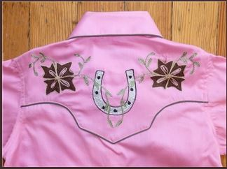 Rockmount Ranch Wear Children's Western Shirt Horseshoes on Pink Front