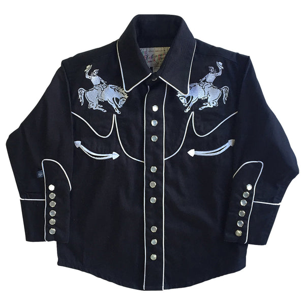 Rockmount Ranch Wear Children's Fancy Western Shirt Bucking Broncos Black Front #178851B