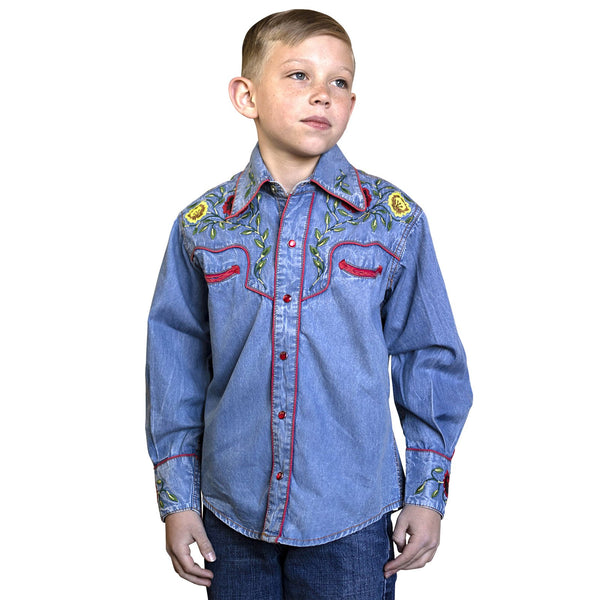 Rockmount Ranch Wear Children's Western Shirt Denim with Roses Front #1708857