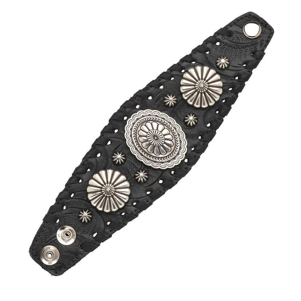 American West Wide Cuff Leather Bracelet with Silver Conchos Black