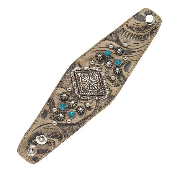 American West Wide Cuff Leather Bracelet with Silver Concho, Turquoise and Silver Spots Sand