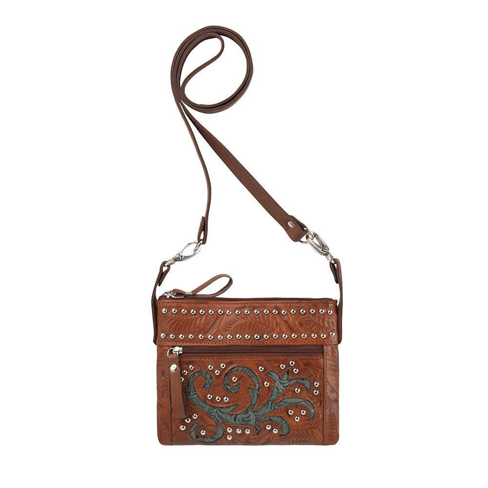 American West Trail Rider Crossbody Turquoise Scroll Front