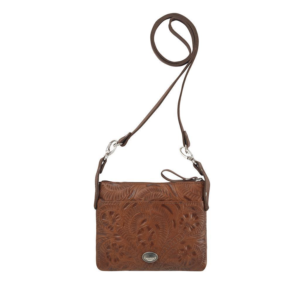 American West Trail Rider Crossbody Turquoise Scroll Back