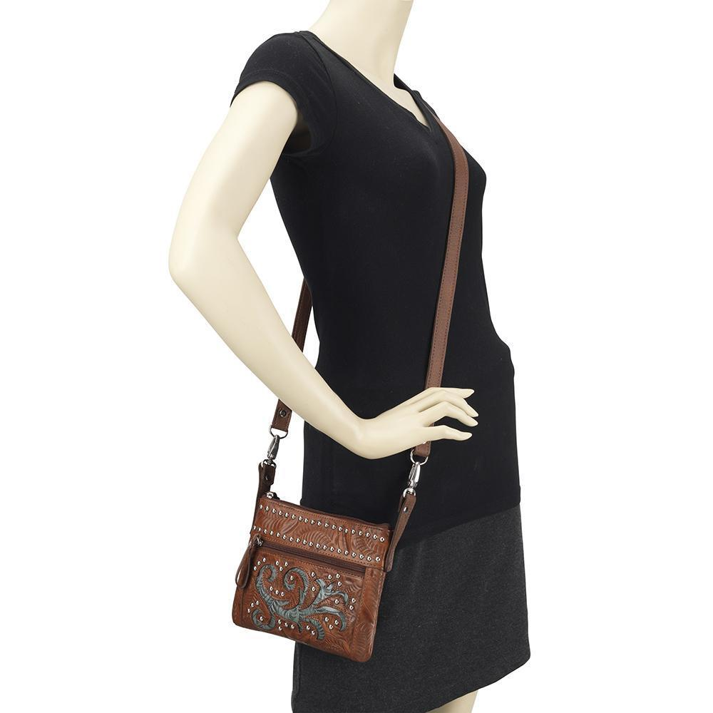 American West Trail Rider Crossbody Turquoise Scroll on Mannequin