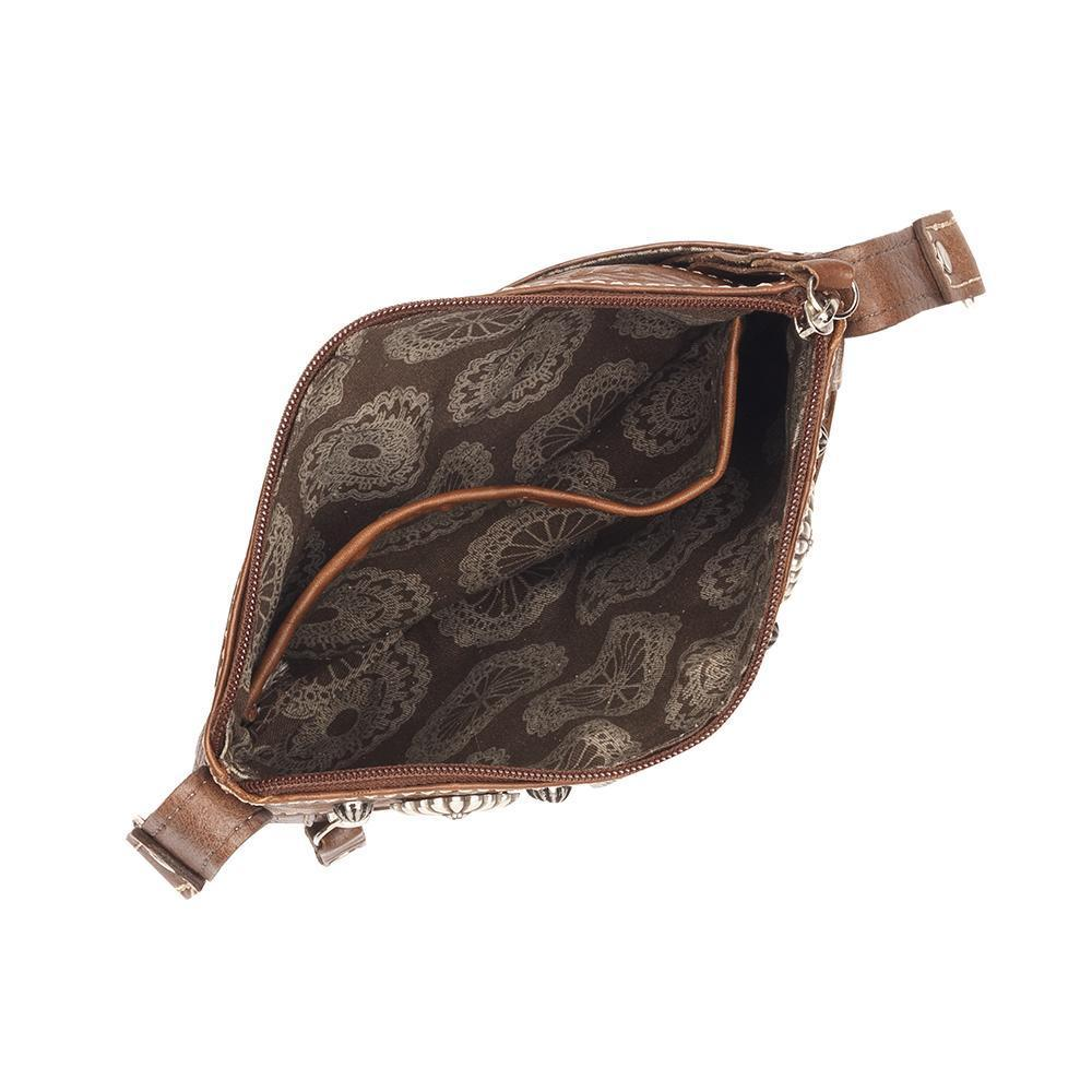 American West Trail Rider Crossbody Turquoise Scroll Interior