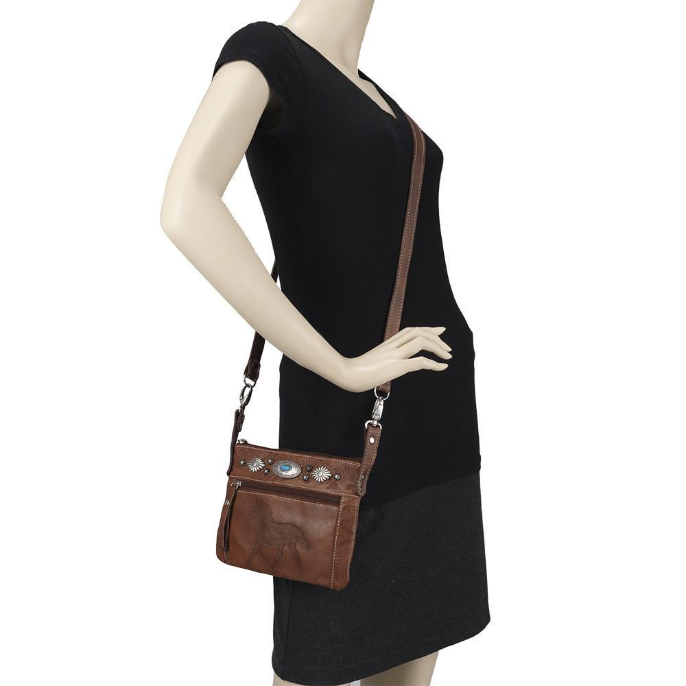 American West Handbag Trail Rider Collection, Crossbody on Mannequin