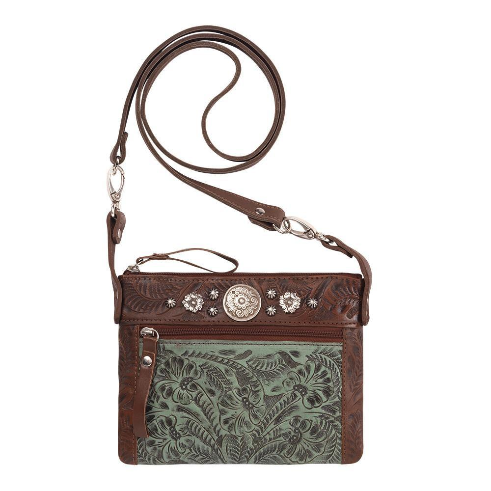 American West Handbag, Trail Rider Collection, Crossbody Turquoise Tooled