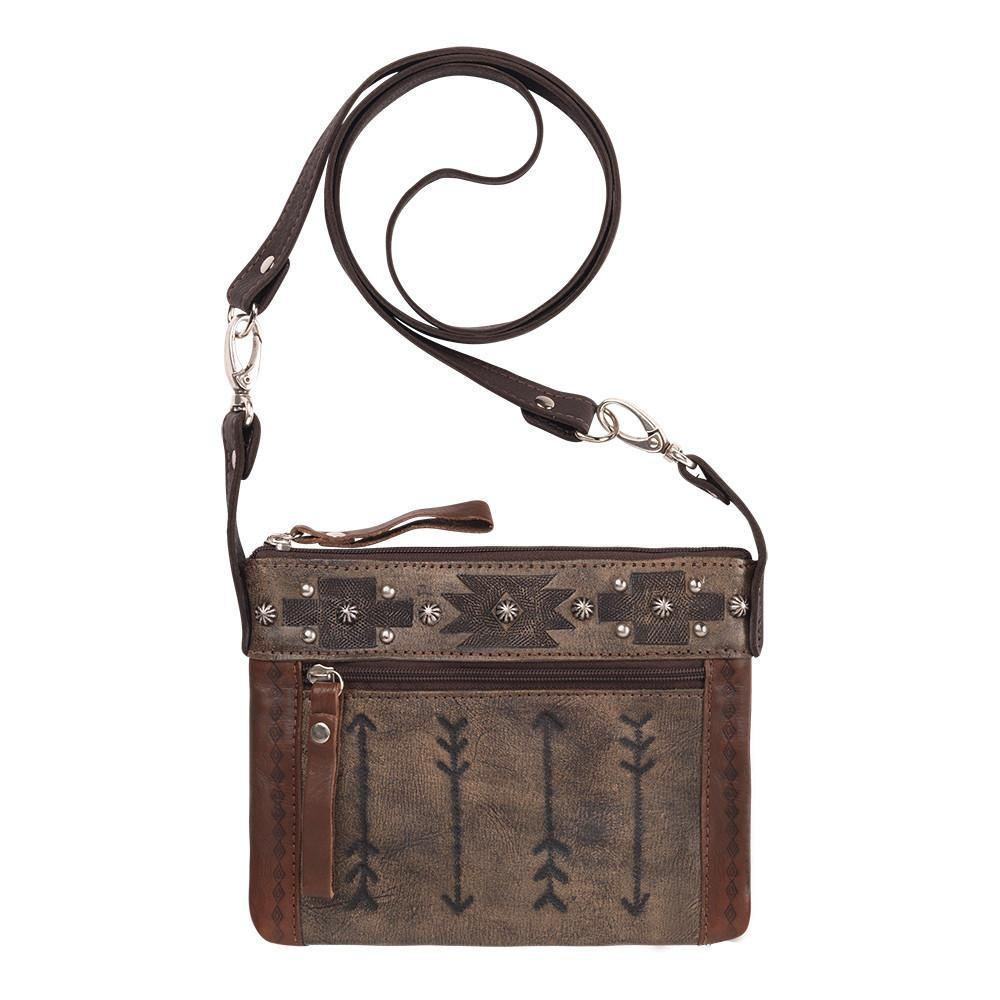 American West Handbag Trail Rider Collection Crossbody Bag with Arrows