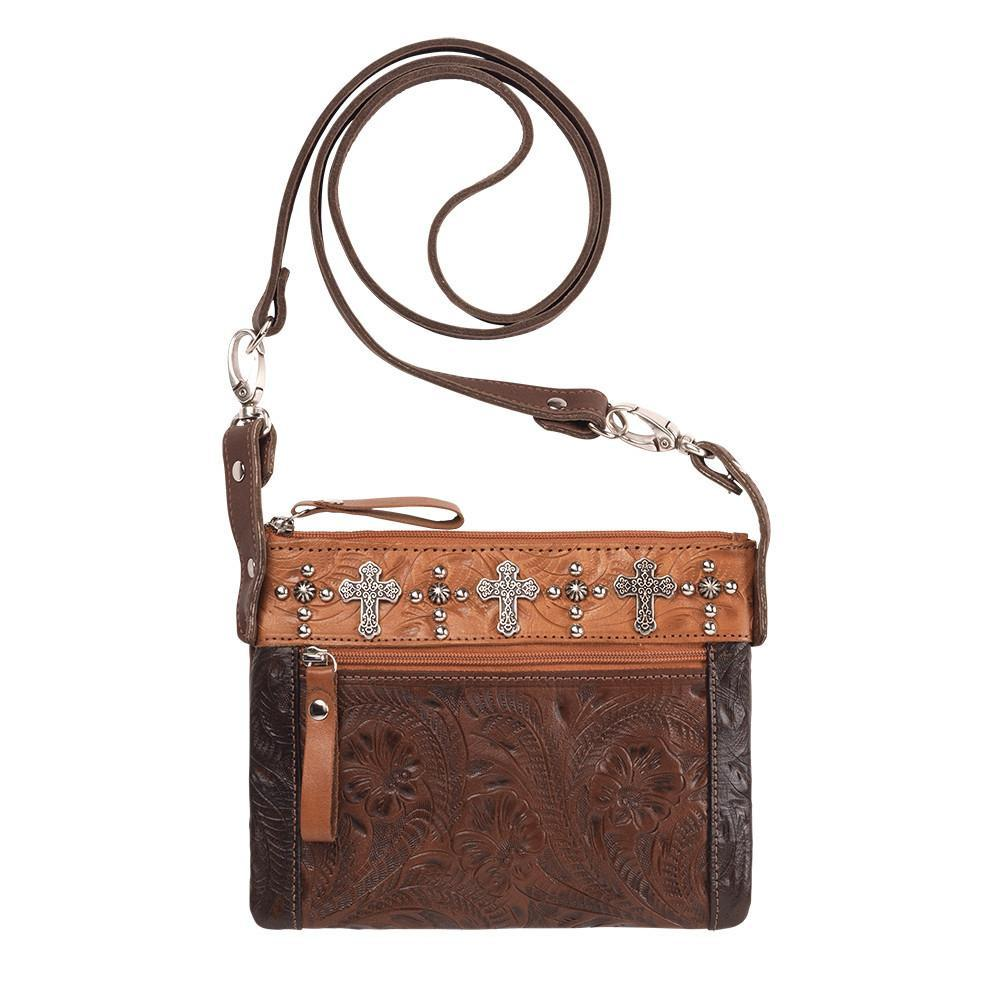 American West Handbag Trail Rider Collection, Crossbody Crosses Front