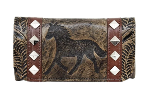 American West Hitchin' Post Collection Tri-Fold Wallet Sand Front