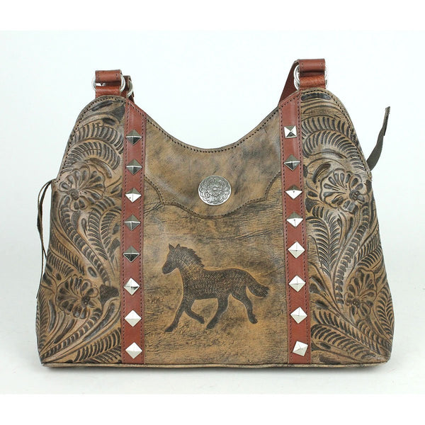 American West Hitchin' Post Collection Multi-Compartment Shoulder Bag Sand Front