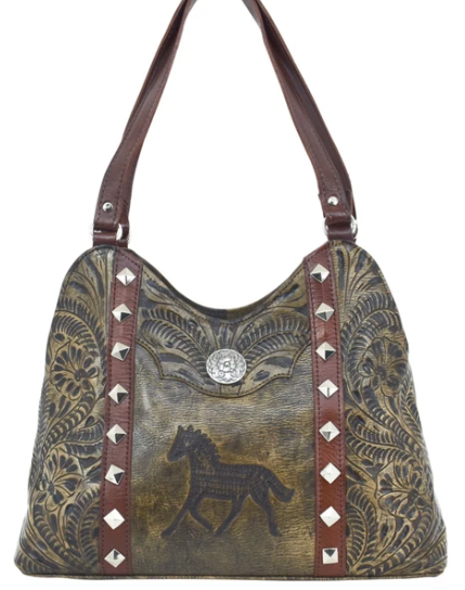 American West Handbag Hitchin' Post Collection: Multi-Compartment Running Horse