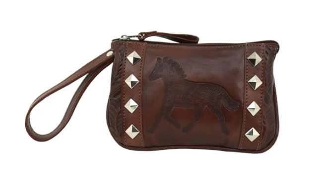 American West Hitchin' Post Collection Event Wristlet Clutch Dark Brown