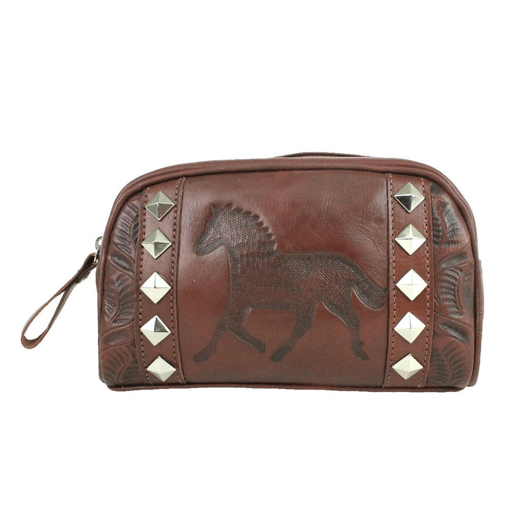American West Hitchin' Post Collection Cosmetic Bag  Dark Brown Front