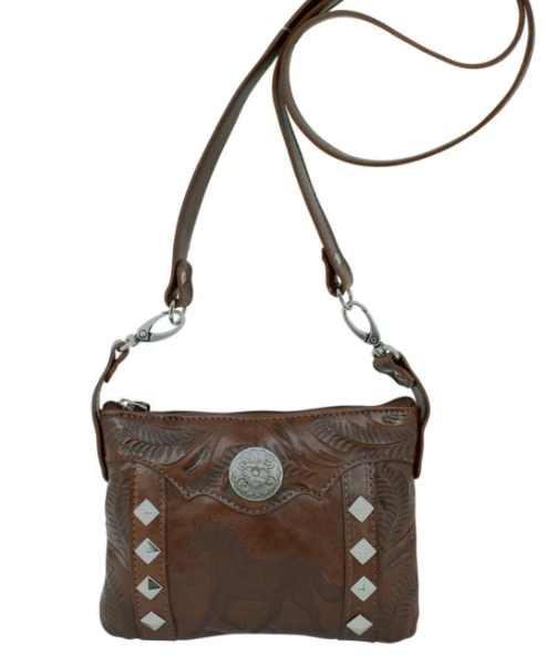 American West Hitchin' Post Collection Crossbody Hip Bag Charcoal Sand Front