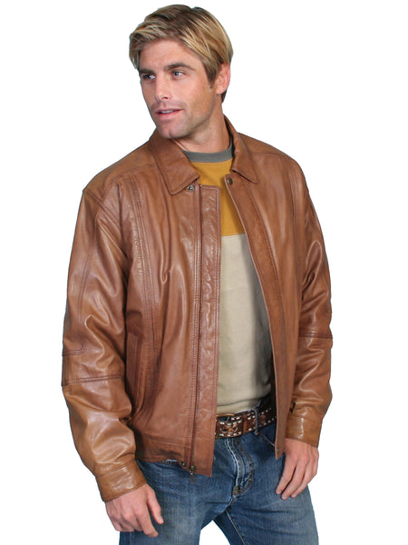Scully Men's Leather Jacket Lambskin Zip Front Cognac Tan Front