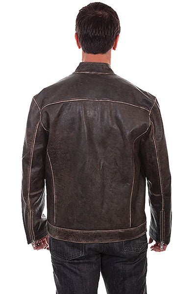 Scully Men's Motorcycle Racing Leather Jacket Black Front