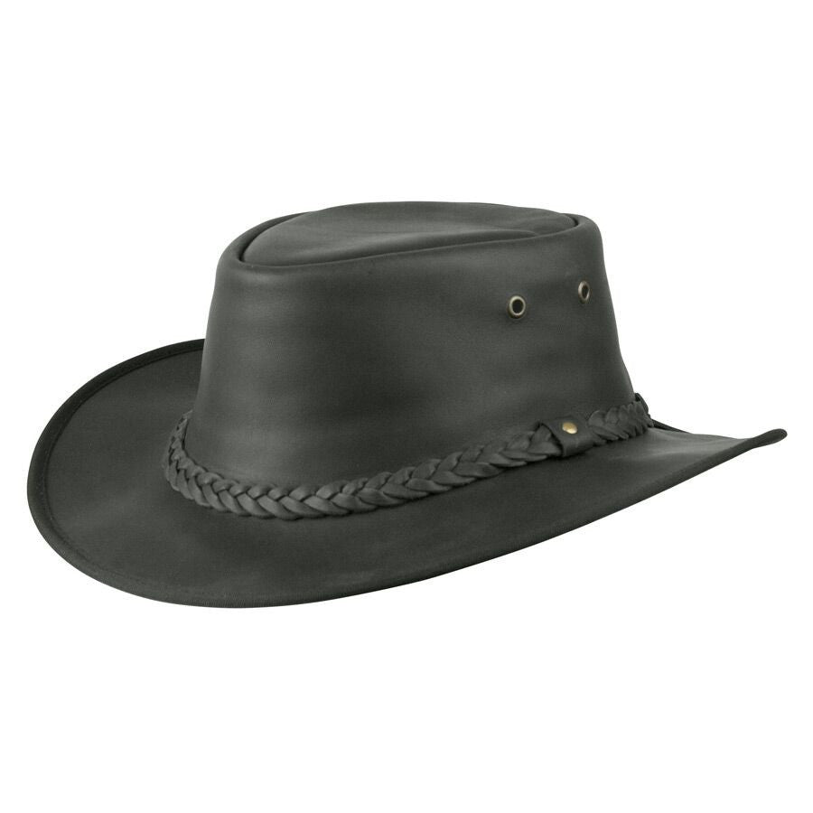 Conner Handmade Hats Lone Wolf Leather Outback Western Style Black ... df5148a768d