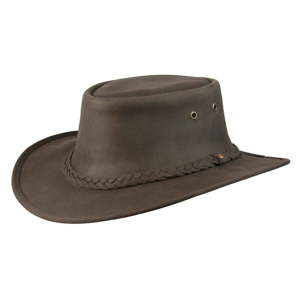 917d6e2e2f4 ... Conner Handmade Hats Lone Wolf Leather Outback Western Style Black