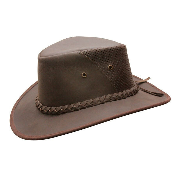 2e10972c129 Conner Handmade Hats Down Under Breezer Brown Conner Handmade Hats Down  Under Breezer Brown. Cowboy Western Style Leather  Outback ...
