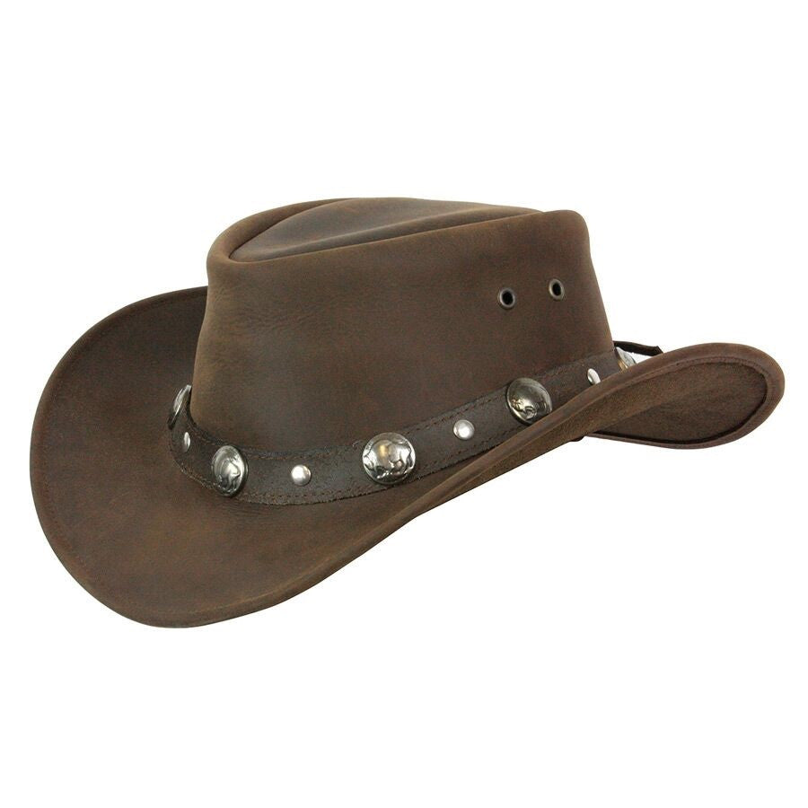Conner Handmade Hats Buffalo Nickel Leather Hat Brown