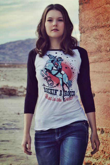 Original Cowgirl Clothing T-Shirt Vintage Rodeo Cowgirl Baseball Tee Front