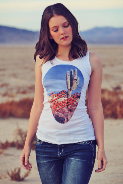 Original Cowgirl Clothing Tank Top Free Yourself Cactus Design Front