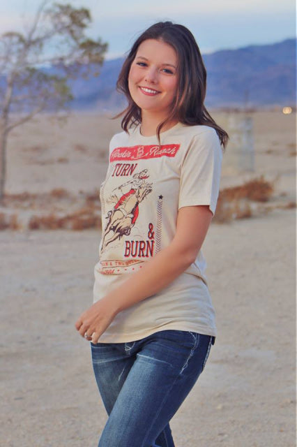 Original Cowgirl Clothing T-Shirt Rockin' B Ranch Turn N Burn Front