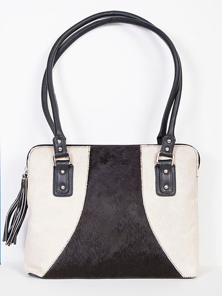 Scully Leather Co. Hair on Hide Double Handle Handbag Front