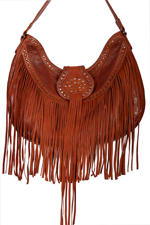 Scully Leather Shoulder Hobo Bag with Fringe and Studs Front
