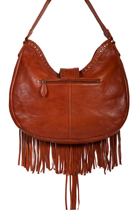 Scully Leather Shoulder Hobo Bag with Fringe and Studs Back