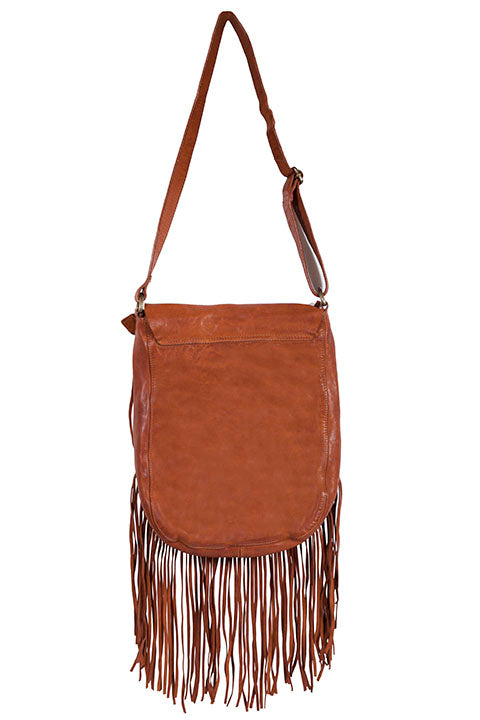 Scully Leather Shoulderbag with Flap Closure Fringe Back