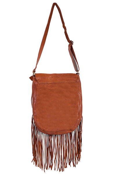 Scully Leather Shoulderbag with Flap Closure Fringe Front