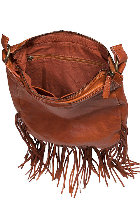 Scully Leather Shoulderbag with Flap Closure Fringe Interior