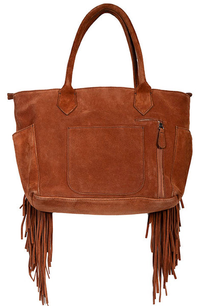 Scully Leather Shoulder Tote Handbag Fringe Concho Brown Front