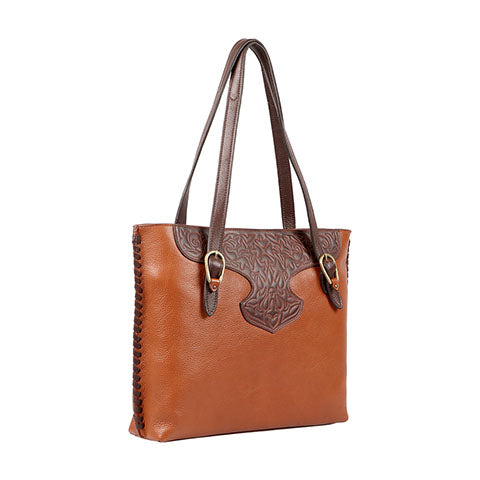 Scully Leather Co. Double Strap Handbag with Tooling Side View