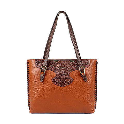 Scully Leather Co. Double Strap Handbag with Tooling Front