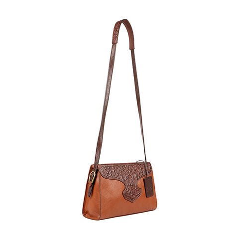 Scully Leather Co. Compact Shoulder Bag with Tooling Side View