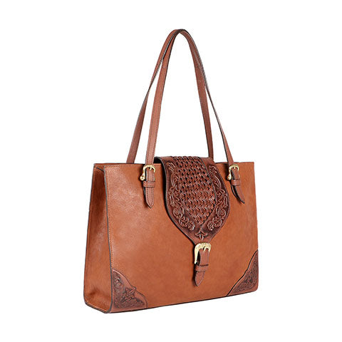 Scully Leather Co. Embossed Leather Satchel Front