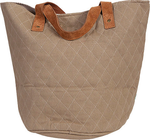 Scully Woven Handbag Geometric Print with Suede Handles Front