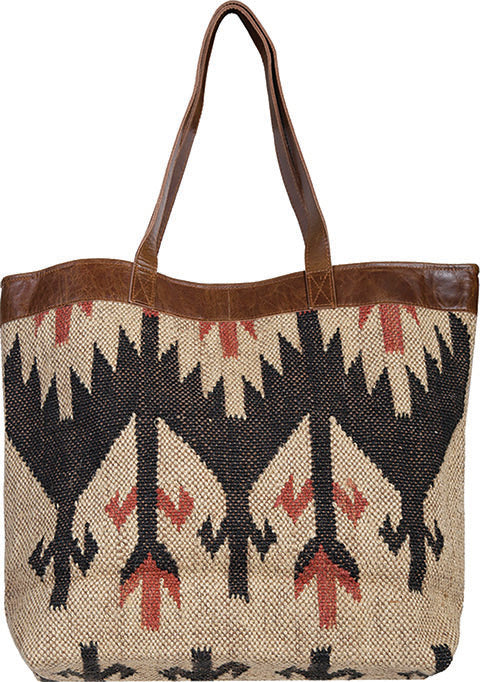 Scully Woven Shoulder Tote Geometric Pattern Back
