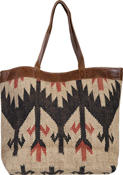 Scully Woven Shoulder Tote Geometric Pattern Front