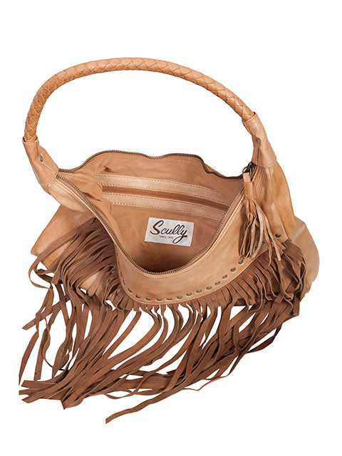 Scully Leather Co. leather Shoulder Bag with Long Fringe and Rivets Interior