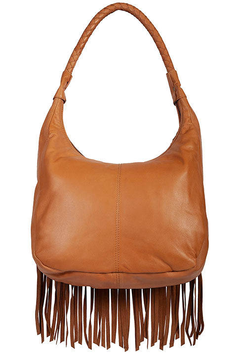 Scully Leather Co. leather Shoulder Bag with Long Fringe and Rivets Back