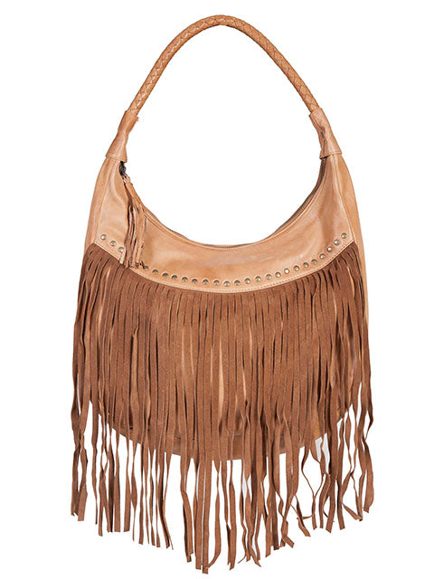 Scully Leather Co. leather Shoulder Bag with Long Fringe and Rivets Front
