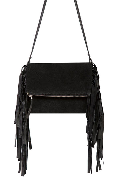 Scully Leather Co. Mini Crossbody Bag with Black Fringe on Model