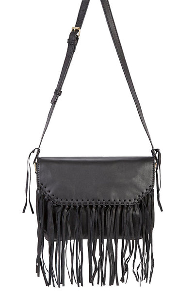 Scully Leather Co. Black Shoulder Mini Crossbody with Fringe on Model
